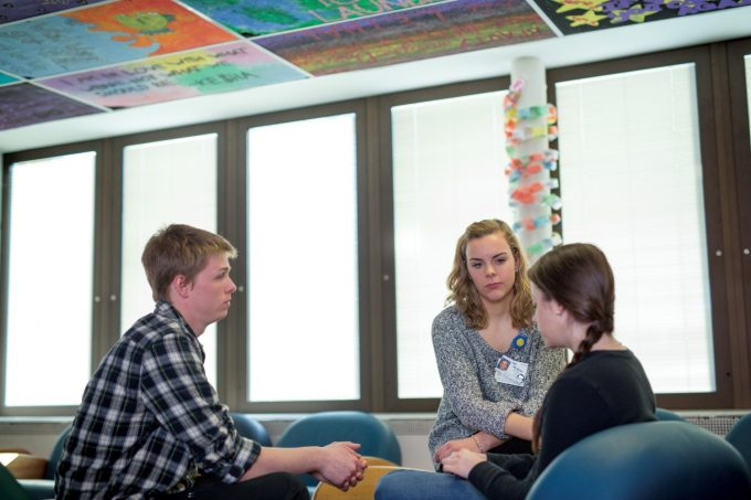 Patients in a therapy session in our Inpatient Mental Health (Unit 1) program