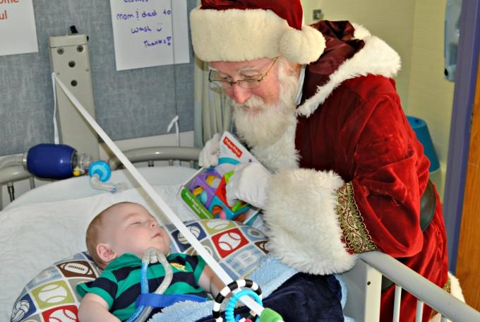 Santa Bringing a Gift to a Child