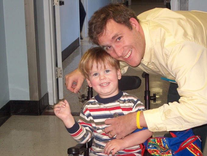 3-year-old Jacob in 2004 with his dad, David at Franciscan Hospital for Children.