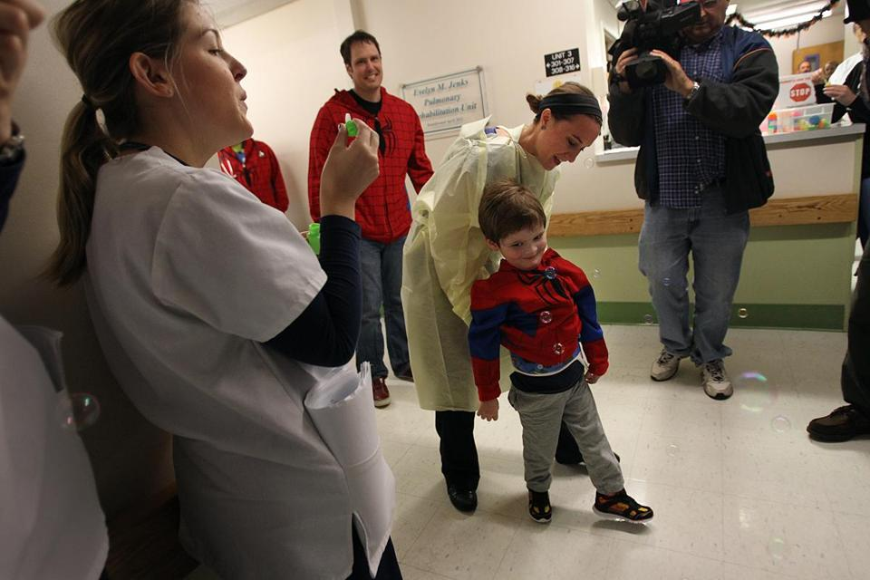 Christian walked out of Franciscan the day he was discharged. [Photo c/o the Boston Globe]