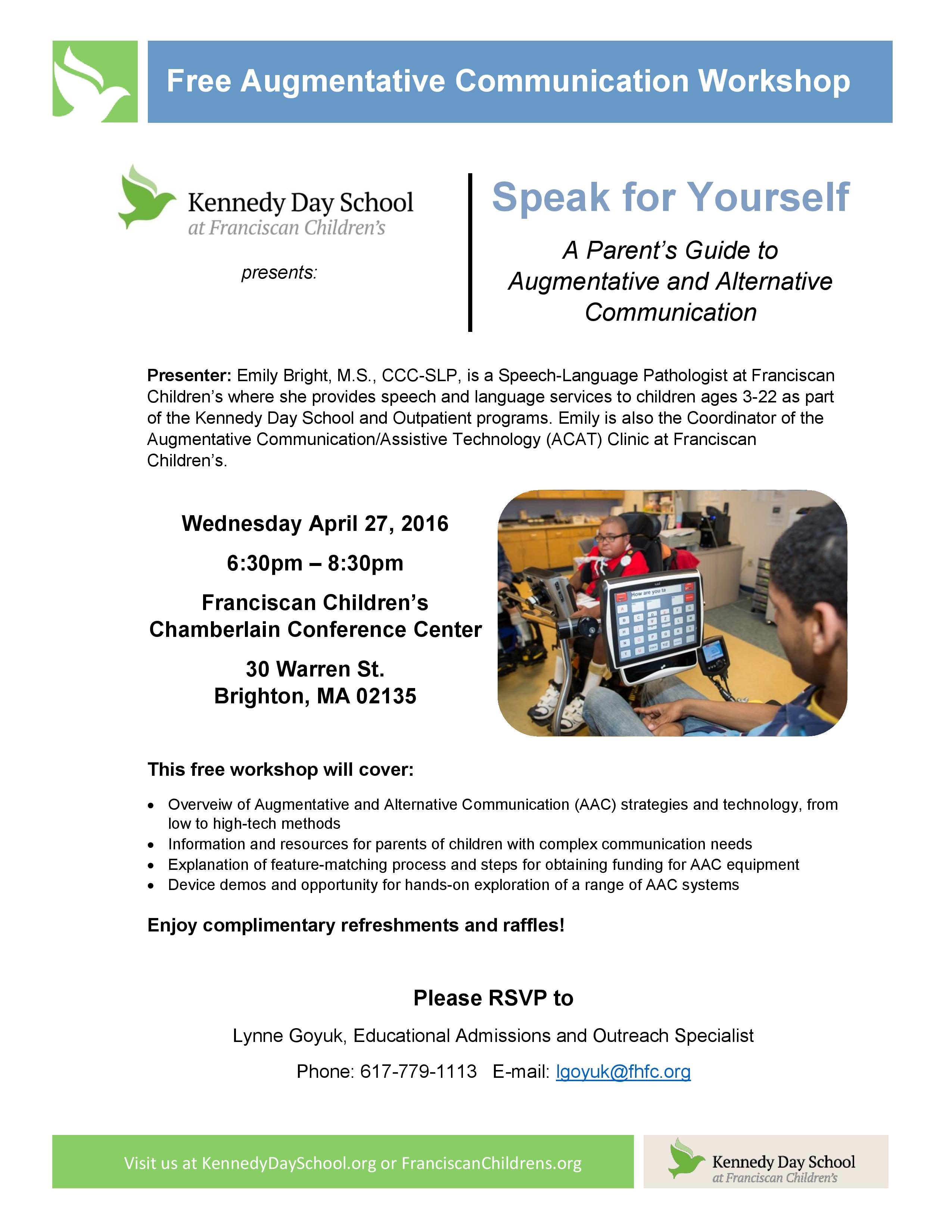 Free Workshop April 27th Speak For >> Speak For Yourself Workshop A Parent S Guide To Augmentative And