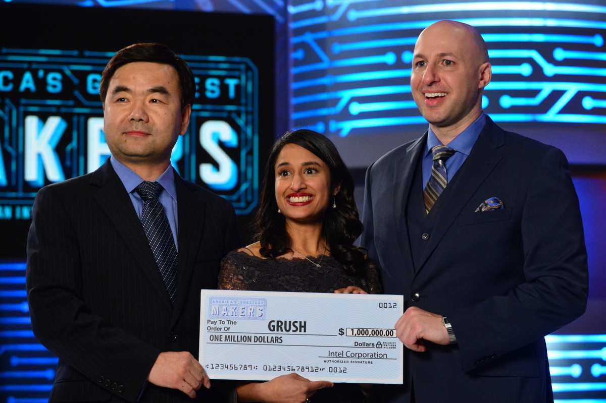 Interactive digital toothbrush created by a team of parent entrepreneurs wins America's Greatest Makers.  Team Grush crowned America's Greatest Makers: (from left) Yongjing Wang, Dr. Anubha Sacheti and Ethan Schur.