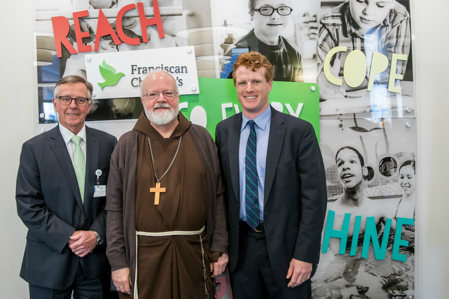 Franciscan Children's President and CEO John Nash, Archbishop of Boston Cardinal Sean O'Malley, Congressman Joe Kennedy III